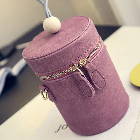 Unique Zipper PU Leather Cylinder Shape Crossbody Bag - DEEP PINK  Mobile