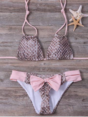 Sale Animal Print Bowknot Halter Bikini Set