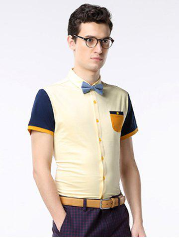 Shop Breast Pocket Color Splicing Turn-down Collar Short Sleeve Shirt ODM Designer - 3XL YELLOW Mobile