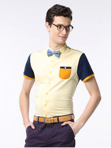 Trendy Breast Pocket Color Splicing Turn-down Collar Short Sleeve Shirt ODM Designer - 3XL YELLOW Mobile