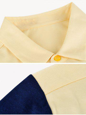 Discount Breast Pocket Color Splicing Turn-down Collar Short Sleeve Shirt ODM Designer - 3XL YELLOW Mobile