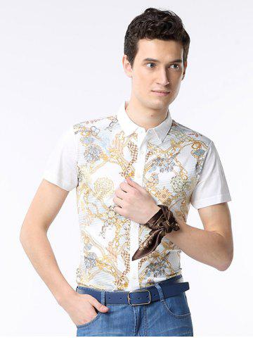 Shops Chains Print Turn-down Collar Short Sleeve Shirt ODM Designer WHITE 2XL