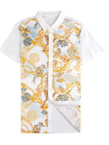 Outfit Chains Print Turn-down Collar Short Sleeve Shirt ODM Designer - 2XL WHITE Mobile