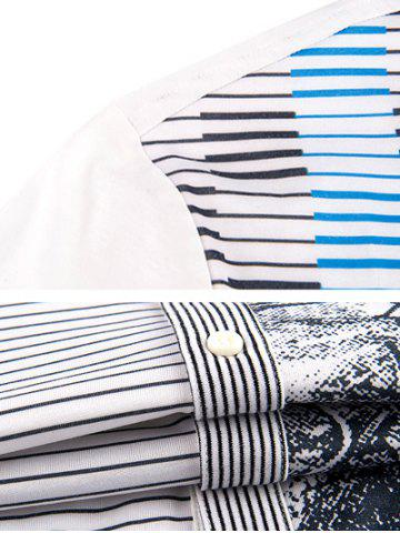 Chic Pinstriped Button-Up Turn-down Collar Short Sleeve Shirt ODM Designer - 2XL WHITE Mobile