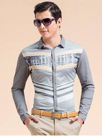 Affordable Striped 3D Print Turn-down Collar Long Sleeve Shirt ODM Designer