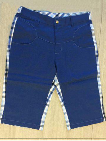 Unique Zipper Fly Plaid Denim Spliced Knee Length Shorts ODM Designer