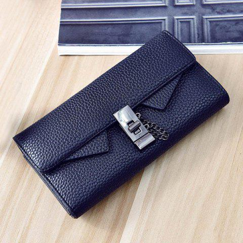 Chic Twist-Lock Closure Chain Embossing Wallet BLACK
