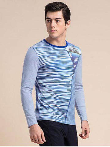 Outfit Striped Zipper 3D Print Round Neck Long Sleeve T-Shirt ODM Designer - 3XL BLUE Mobile