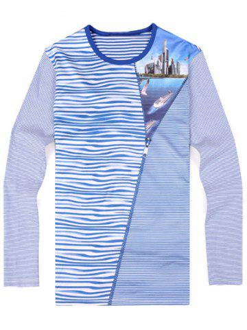 Discount Striped Zipper 3D Print Round Neck Long Sleeve T-Shirt ODM Designer - 3XL BLUE Mobile