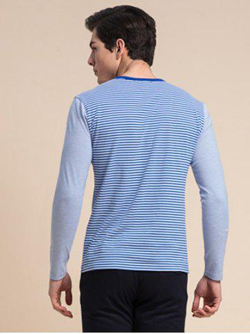 Online Striped Zipper 3D Print Round Neck Long Sleeve T-Shirt ODM Designer - 3XL BLUE Mobile