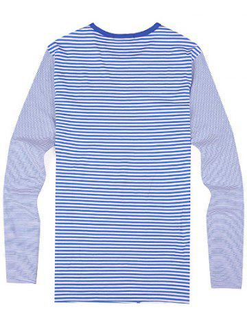 Buy Striped Zipper 3D Print Round Neck Long Sleeve T-Shirt ODM Designer - 3XL BLUE Mobile