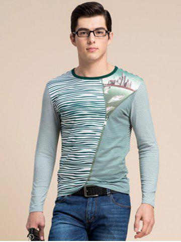 Fashion Striped Zipper 3D Print Round Neck Long Sleeve T-Shirt ODM Designer