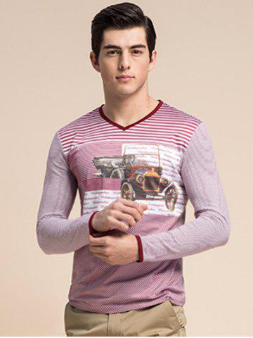Unique Striped 3D Vintage Car Print V-Neck Long Sleeve T-Shirt ODM Designer
