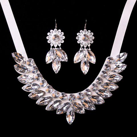 Shops Stylish Artificial Crystal Floral Bib Necklace Set - WHITE  Mobile