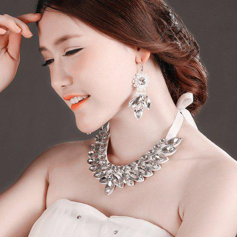 Fashion Stylish Artificial Crystal Floral Bib Necklace Set - WHITE  Mobile