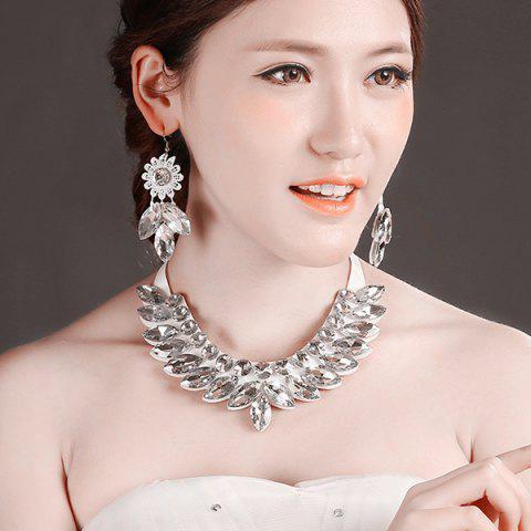 Hot Stylish Artificial Crystal Floral Bib Necklace Set - WHITE  Mobile