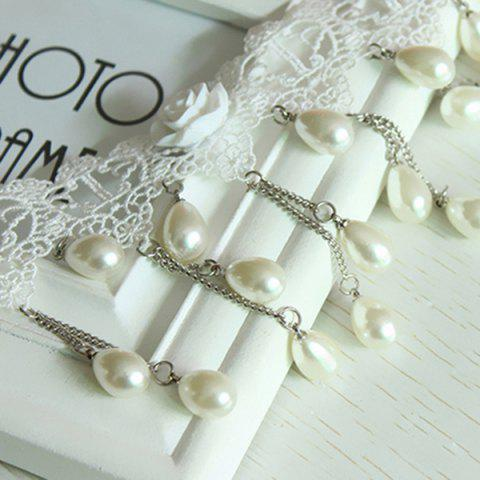 Chic Tiered Lace Crochet Teardrop Fake Pearl Bridal Necklace Set - PEARL WHITE  Mobile