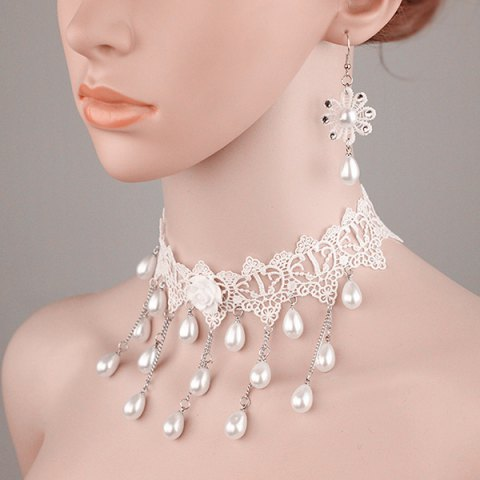 Shops Tiered Lace Crochet Teardrop Fake Pearl Bridal Necklace Set - PEARL WHITE  Mobile