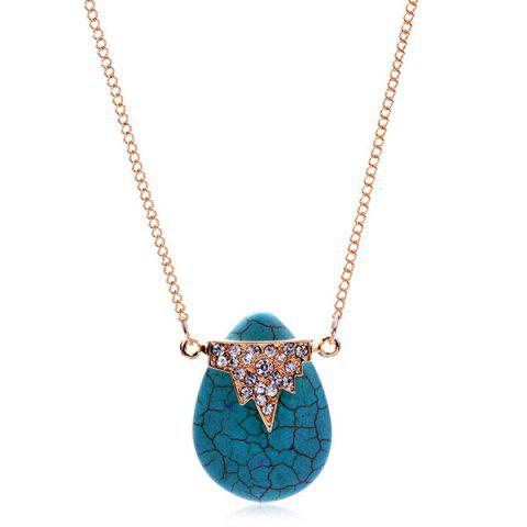 Best Teardrop Natural Stone Geometric Rhinestone Necklace