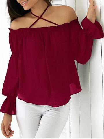 Trendy Elegant Halter Flounced Long Sleeve Blouse