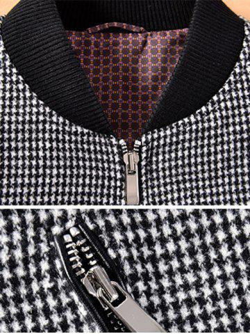 Affordable Stand Collar Small Plaid Pattern Splicing Jacket ODM Designer - 3XL BLACK Mobile