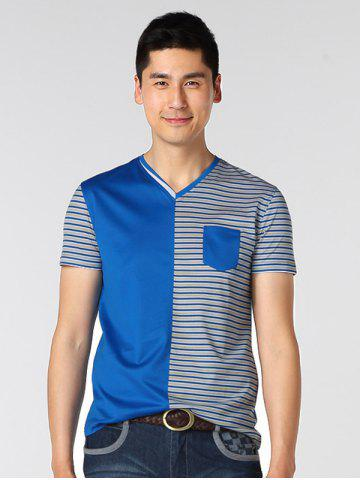 Trendy V-Neck Striped Spliced T-Shirt ODM Designer