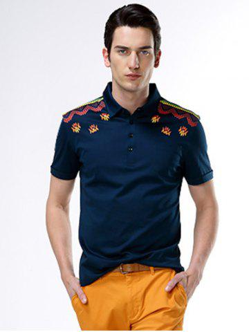 Fancy Turn-Down Collar Abstract Printed Polo Shirt ODM Designer PURPLISH BLUE 3XL