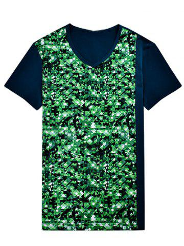 Discount V-Neck Geometric Print Bling T-Shirt ODM Designer GREEN 3XL