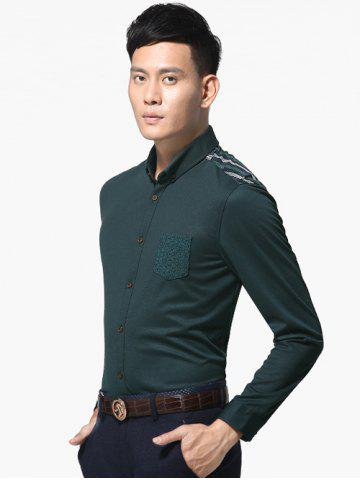 Latest Long Sleeve Button-Down Plaid Spliced Shirt ODM Designer - 3XL ARMY GREEN Mobile