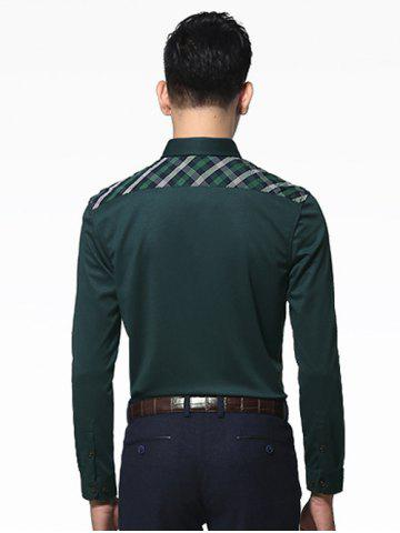 Buy Long Sleeve Button-Down Plaid Spliced Shirt ODM Designer - 3XL ARMY GREEN Mobile