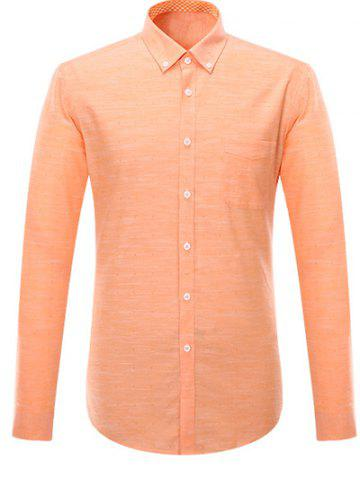 Outfits Button-Down Long Sleeve Pocket Design Shirt ODM Designer ORANGE 4XL
