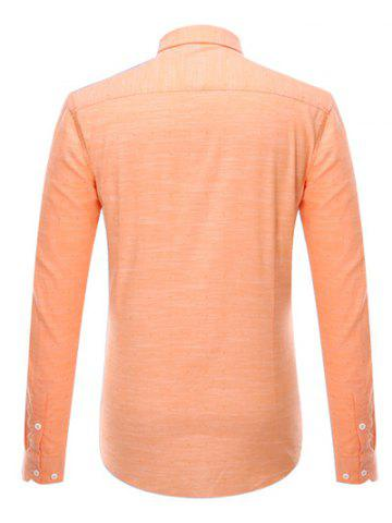 Fancy Button-Down Long Sleeve Pocket Design Shirt ODM Designer - 4XL ORANGE Mobile