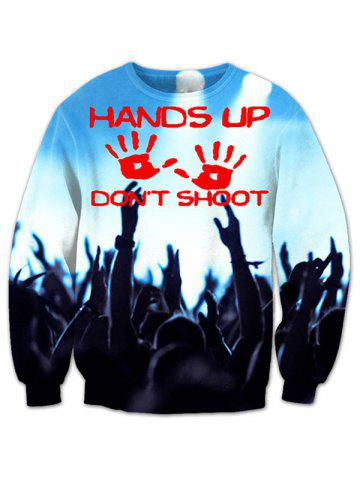 Round Neck Hands Up Printed Sweatshirt - BLUE 2XL
