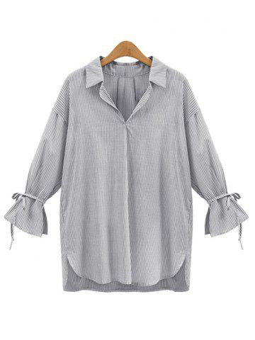 Latest Vertical Stripe Irregular Loose Blouse