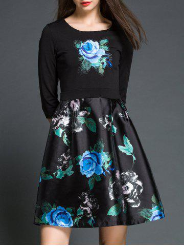 Unique Rose Floral Print Fake Twinset A Line Dress BLACK 2XL