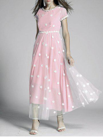 Outfits Flowers Print Tulle Spliced High Waist Maxi Dress