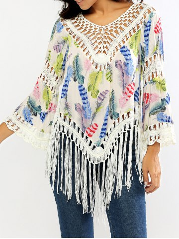 Fashion Openwork Feather Print Fringed Blouse