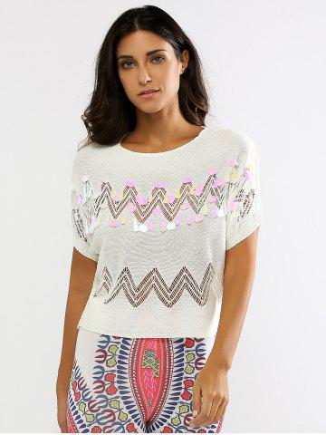 Discount Sequined Openwork Knitted T-Shirt