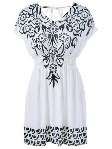 Affordable Cut Out Print Cap Sleeve Dress