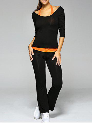 Buy Crop Tank Top and T-Shirt and Drawstring Pants Yoga Suit - 2XL BLACK Mobile