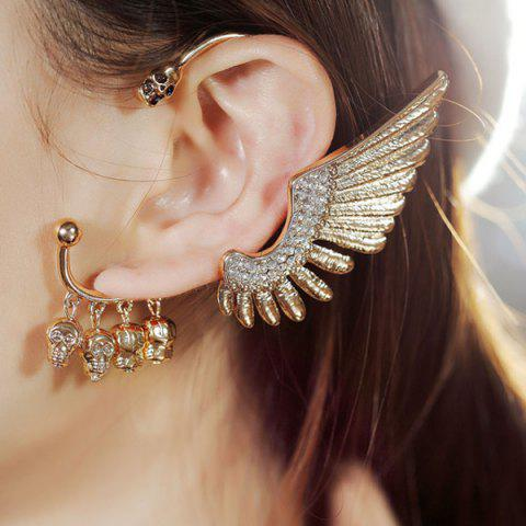 Store Rhinestone Wing Skull Decorative Ear Cuff GOLDEN