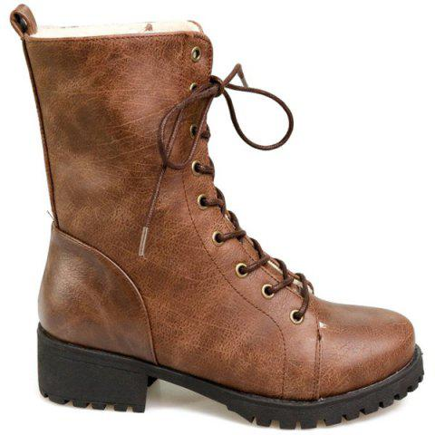 Tie Up PU Leather Chunky Heel Boots - Brown - 39