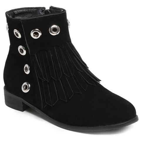 Affordable Eyelets Fringe Zipper Ankle Boots
