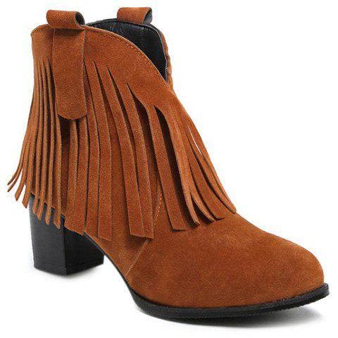 Latest Suede Zipper Fringe Ankle Boots BROWN 39