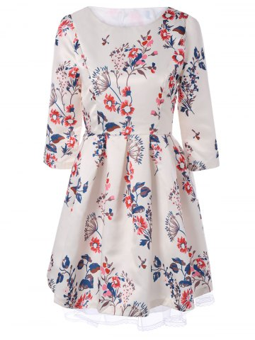Fancy Retro Round Neck Floral Printed 3/4 Sleeve Fit and Flare Dress