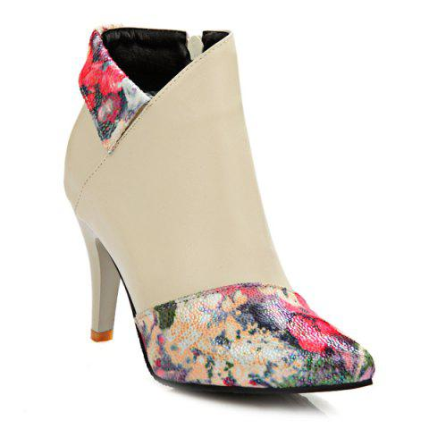 Stiletto Heel Zipper Floral Print Short Boots