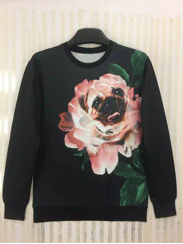 Outfits Round Neck 3D Funny Dog in Flower Print Long Sleeve Sweatshirt BLACK XL