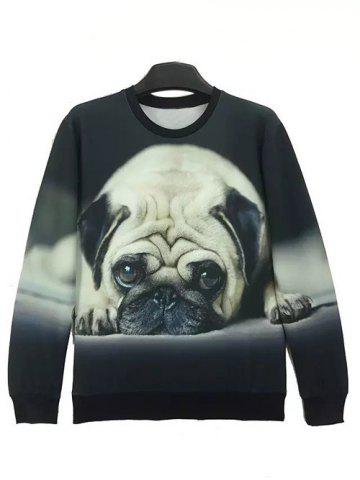 Fashion Round Neck 3D Dog Print Long Sleeve Sweatshirt BLACK L