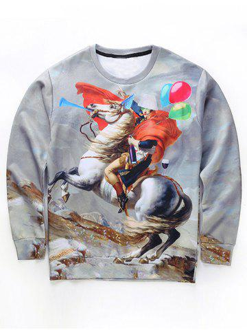 Online Round Neck 3D Funny Napoleon Print Long Sleeve Sweatshirt GRAY XL