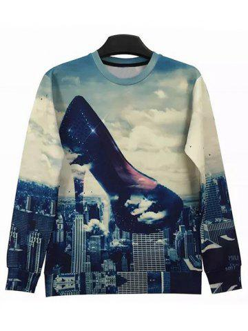Cheap Round Neck 3D Abstract High-Heeled Shoes and City Print Long Sleeve Sweatshirt